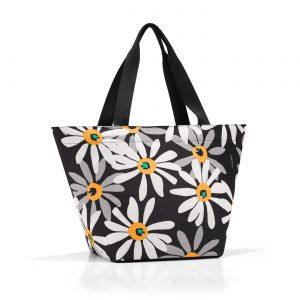 Sac modèle shopper M motif marguerite couleur noir/blanc