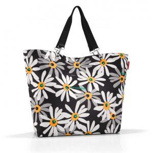 Sac modèle Shopper XL motif marguerite couleur noir/blanc