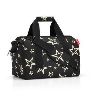 Sac de voyage modèle allrounder M motif étoile, couleur noir et or