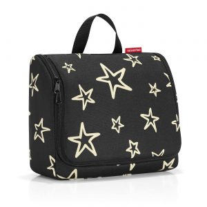Trousse de toilette modèle toiletbag xl motif étoile, couleur noir et or