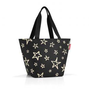 Sac modèle Shopper M motif étoile, couleur noir et or