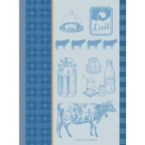 Visuel torchon vache à lait couleur bleu