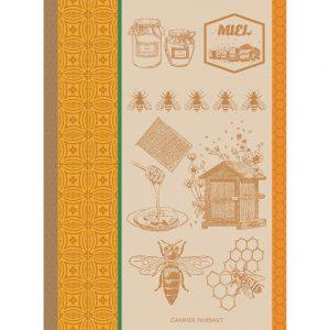 torchon motif miel et abeilles couleur jaune