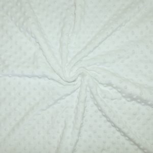 Tissus Minky pois couleur Blanc