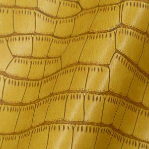Simili Cuir modèle imitation Peau Croco couleur jaune Safran