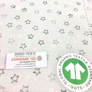petit imprimé très délicat sur un coton fin garanti bio, certifié oekotex, coloris gris