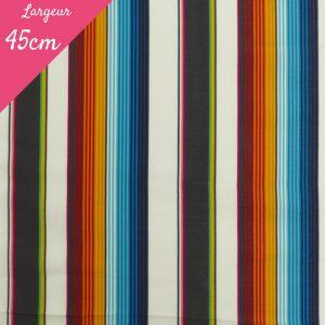 Tissu toile transat plein air motif Cancun couleur turquoise