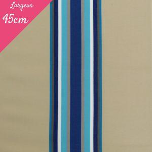 Tissu toile transat plein air motif Cap Ferret couleur bleu