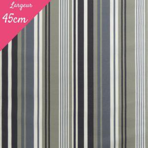 Tissu toile transat plein air motif La Rochelle couleur gris