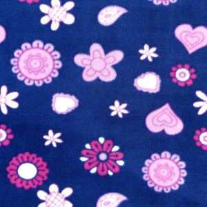 Tissu polaire fantaisie motif fleurs couleur prune/rose/magenta