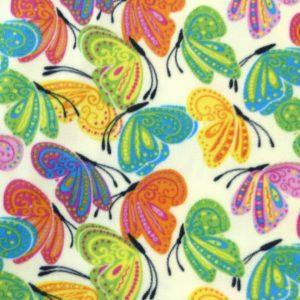 Tissu polaire fantaisie motif papillons multicolore