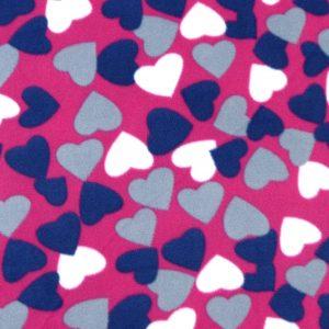 Tissu polaire fantaisie motif coeur couleur magenta, violet, blanc