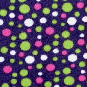 Tissu polaire fantaisie motif pois couleur prune/vert/rose