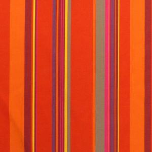 Tissu toile rayures plein air motif St Tropez couleur orange rouge