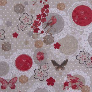 Tissu toile en lin, motifs mprimés flow fleurs