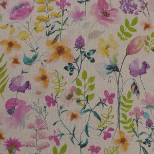 Tissu toile en matière polyester et coton motif imprimé lolita fleurs multicolore