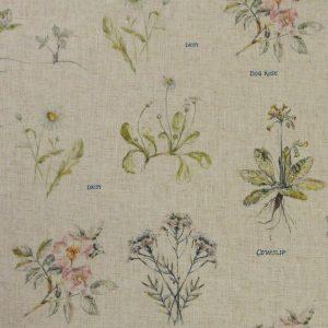 Tissu toile composée de polyester et lin, motifs imprimés botanist plantes