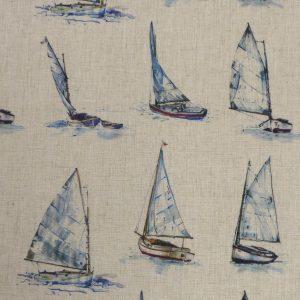 Tissu toile composée de polyester et lin, motifs imprimés yatchs bateaux