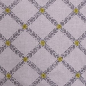 Tissu toile métis brodée modèle cressida couleur écru jaune