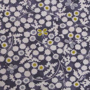 Tissu toile métis composée de coton et lin, motif imprimé berwick trail antique couleur bleu