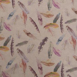 Tissu toile en matière polyester et coton motif imprimé plumes multicolore