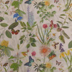 Tissu toile en matière polyester et coton motifs imprimés nature fleurs multicolore