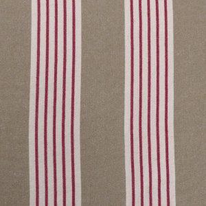 Tissu toile coton rustique, toile tissé modèle deauville couleur rouge