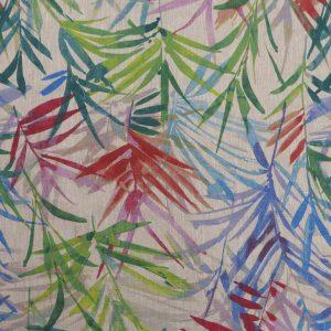 Tissu toile en lin, motifs mprimés plante canopée multicolore