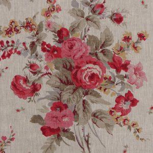Tissu toile en lin, motifs mprimés fleurs roses vintage