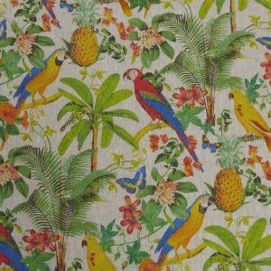 Tissu toile en lin, motifs mprimés amazone jungle peroquets