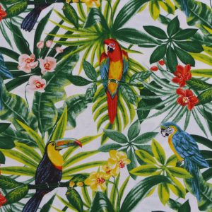 Tissu toile comoposition coton motifs imprimés exotique jungle peroquets multicolore