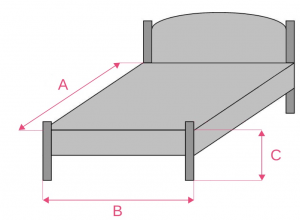 Schéma pour la prise de mesures de vos dessus de lit afin de les confectionner dans nos ateliers en Ariège