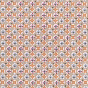 Tissu 100% coton imprimé motif avrey couleur orange
