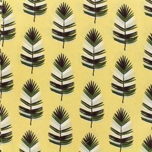 Tissu 100% coton imprimé motif cazeneg feuille de palmier couleur jaune vert