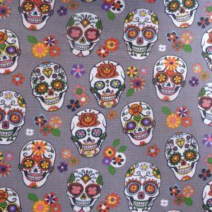 Tissu 100% coton imprimé motif calavera couleur gris/multico
