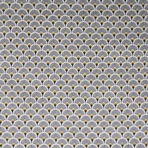 Tissu 100% coton imprimé motif éventails couleurs dorés gris