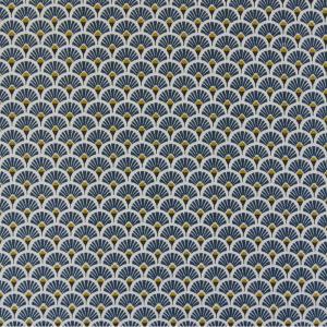 Tissu 100% coton imprimé motif éventails couleurs dorés bleu pétrole