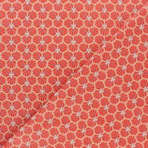 tissu cretonne en coton imprimé garanti Oeko-Tex REF RIAD coloris Mandarineutes vos créations textiles et DIY