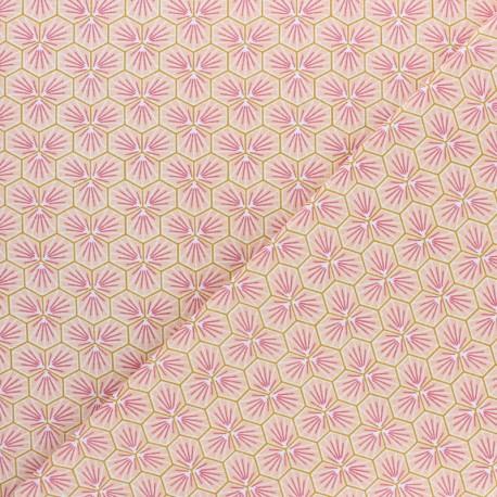 tissu cretonne en coton imprimé garanti Oeko-Tex REF RIAD coloris Rose