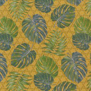Tissu tissé jacquard fabriqué en France, motif floral, feuilles vertes, jungle sur un fond jaune moutarde