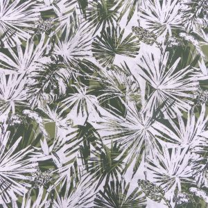 Tissu coton imprimé motif costa rica feuillage jungle couleur kaki foret
