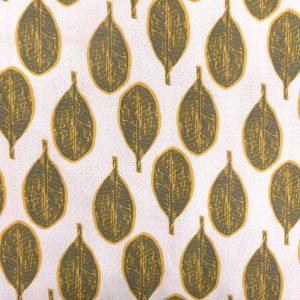 Tissu coton imprimé modèle arali motif feuilles couleur moutarde et vert kaki