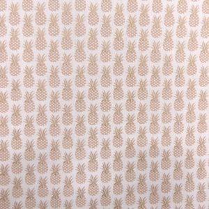 Tissu coton imprimé motif ananas couleur doré