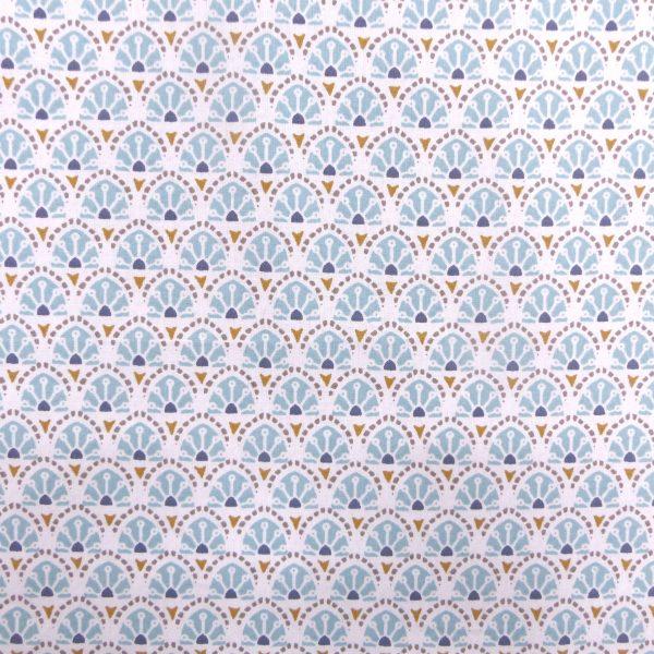 Tissu coton imprimé modèle manco couleur aqua marine