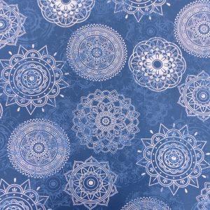 Tissu coton imprimé modèle marik géométrique couleur indigo blanc