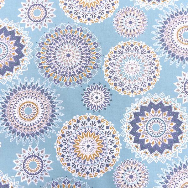 Tissu coton imprimé modèle manija couleur indigo blanc