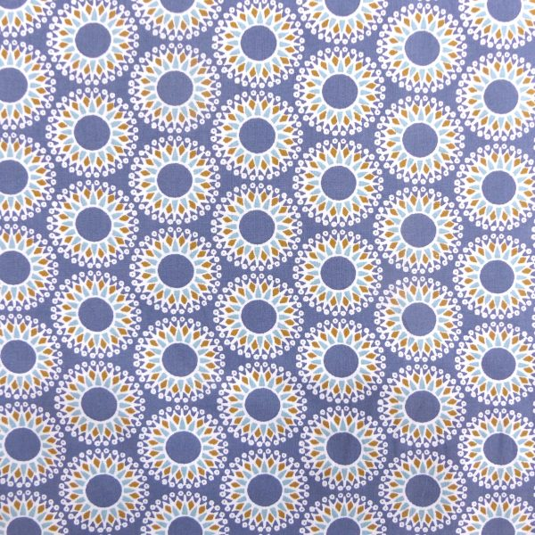 Tissu coton imprimé motif malawa geometrique couleur marine aqua