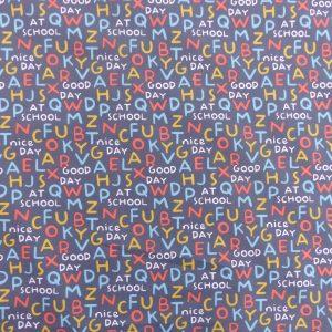 Tissu coton imprimé motif lettres majuscule couleur anthracite multicolore