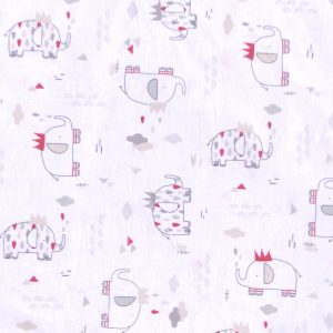 Tissu coton imprimé modèle elefunny éléphants couleur blanc gris
