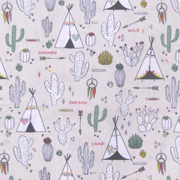 Tissu coton imprimé motif chewonki textas couleur sable vert